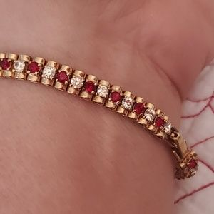 Vintage  Monet Red and Clear stones gold bracelet